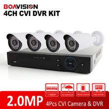 HDCVI CVR System Supports Video Recording 4Pcs IR1080P Bullet 2MP 4CH HDCVI CVI Camera CCTV DVR System Kit