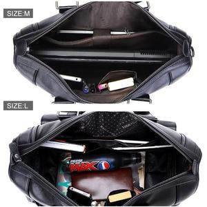 Image 5 - Men Leather Black Briefcase Business Handbag Messenger Bags Male Vintage Shoulder Bag Mens Large Laptop Travel Bags Hot XA177ZC