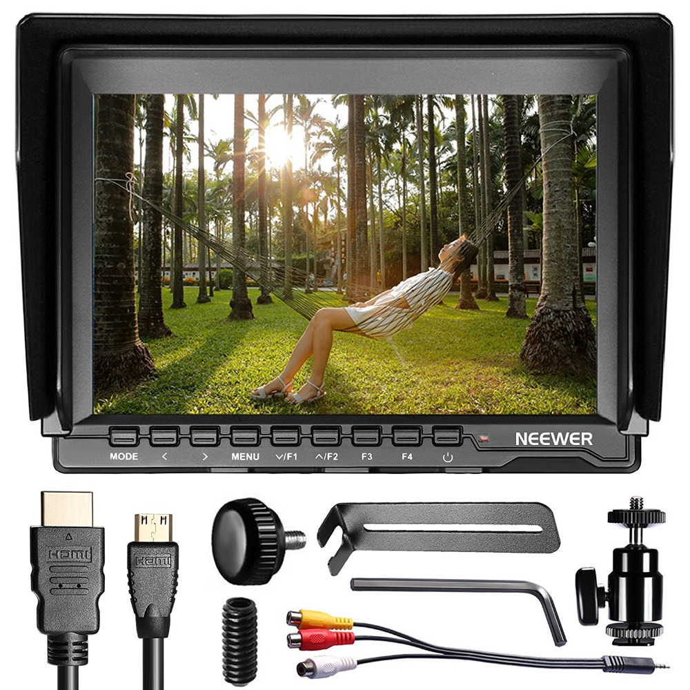 Neewer NW759 7Inch 1280x800 IPS Screen Camera Field Monitor+1 Mini HDMI BMPCC,AV Cable for FPV/16:10/4:3 for Sony Canon Nikon