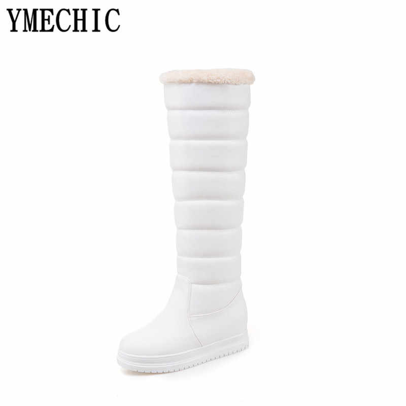 YMECHIC 2018 Black White Knee High Winter Boot Women Plus Size Fur Tassel Ladies Girls Lolita Shoes Long Tall Knight Snow Boots