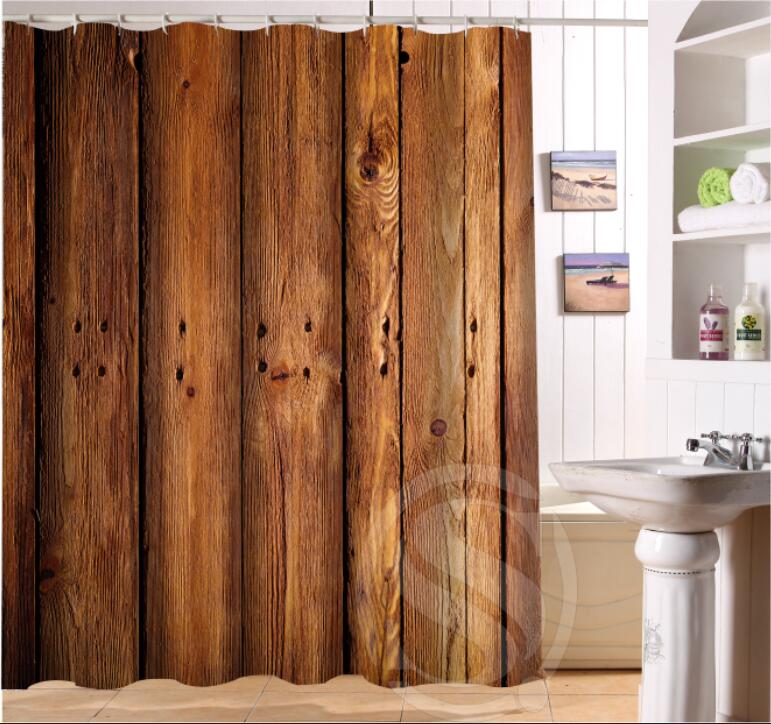 old wood custom shower curtain waterproof fabric bath curtain high quality bath
