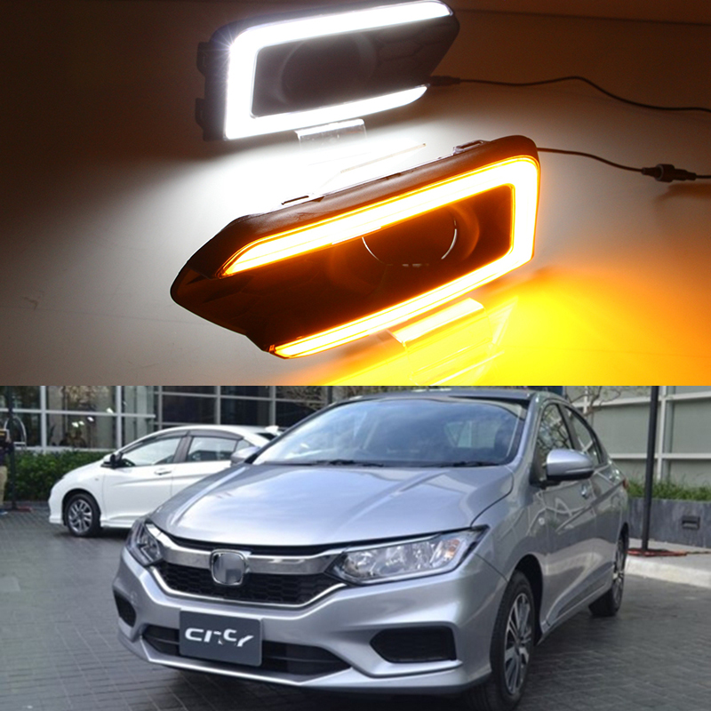 Car Flashing 2Pcs DRL For Honda City 2017 2018 With Yellow Turning Function Car Accessories High