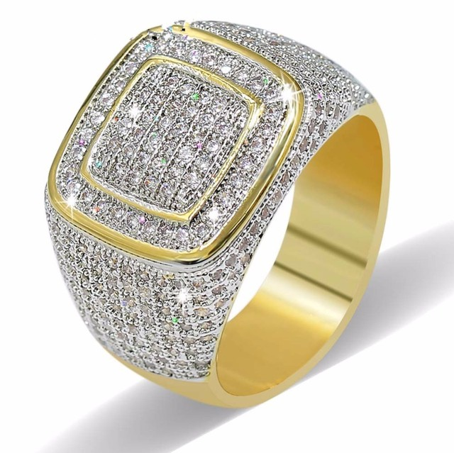 Luxury Hip Hop Micro Pave CZ Stones All Iced Out Bling Ring 925 silver Gold Plated Hip-Hop Rings for Men Jewelry gift party