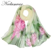 Neelamvar 2018 Fashion Women Hijab Scarves Chiffon Silk Shawl Prting Brand Scarf From India poncho plaid cachecol