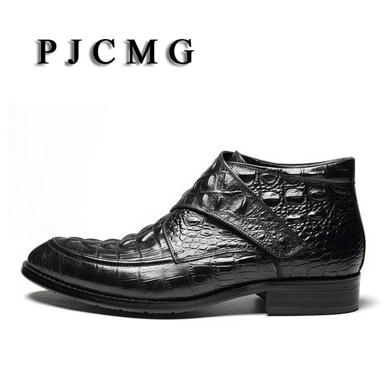 PJCMG Mode Krokodil Patroon Ademend Hoge Kwaliteit Lederen Laarzen Klittenband Puntschoen Oxford Enkellaarsjes Voor Mannen - 5