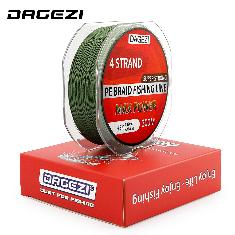 DAGEZI Super Strong 4 strand PE Braided Fishing Line 300m 10-80LB Multifilament Fishing Line For Carp Fishing Saltwater line цены