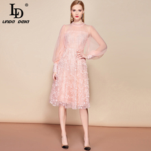 LD LINDA DELLA Autumn Fashion Runway Elegant Dress Women's Long Sleeve Overlay Sequin Embroidery Midi Pink Mesh Party Dress цена 2017
