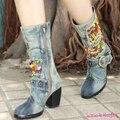 Ethnic Style Ladies Mid-calf Boots Chunky Heel Blue Denim Zipper Martin Jean Boots