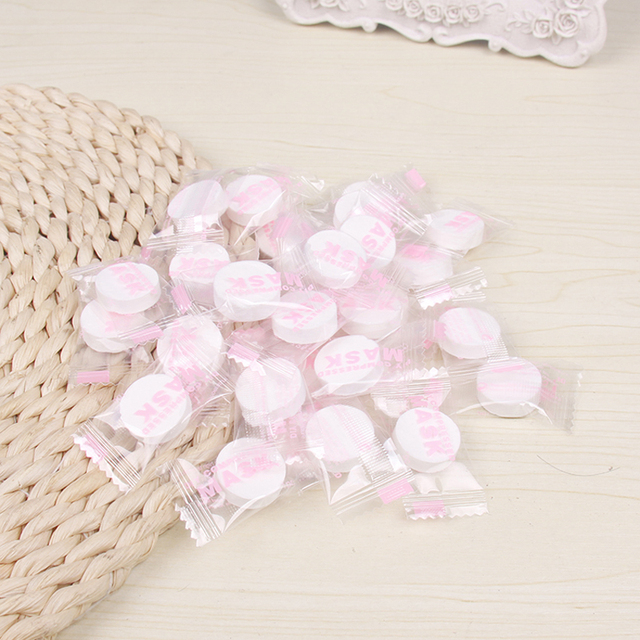 50pcs/pack Compressed Facial Face Mask Women Beauty DIY Disposable Mask Paper Natural Skin Care Makeup Wrapped Masks Wholesale