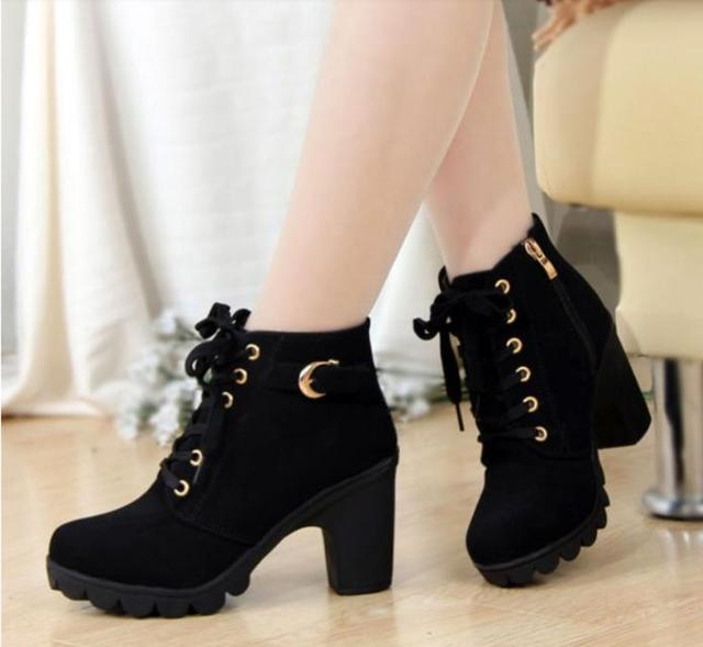 4bd3f570815 New Simple winter Women Pumps European PU leather boots ladies high heel  fashion Motorcycle boots pumps women shoes Baok-888