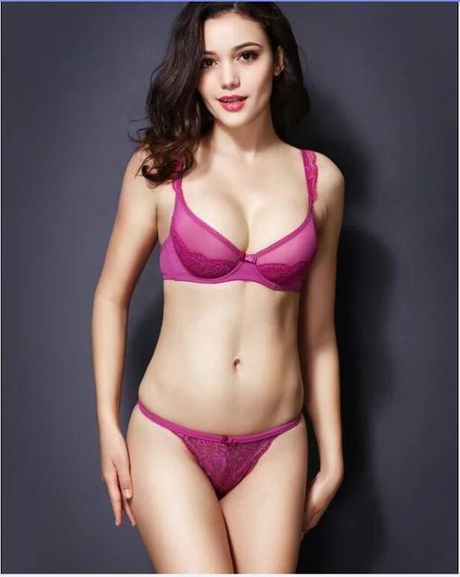 Young Girl White Ultra Thin Transparent Ultra Thin Sexy Lace Bra Set Bra Underwear Sponge