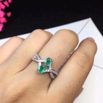 Luxurious big overlapping Natural emerald Ring S925 Silver Natural ruby natural sapphire Ring girl Women's party gift Jewelry