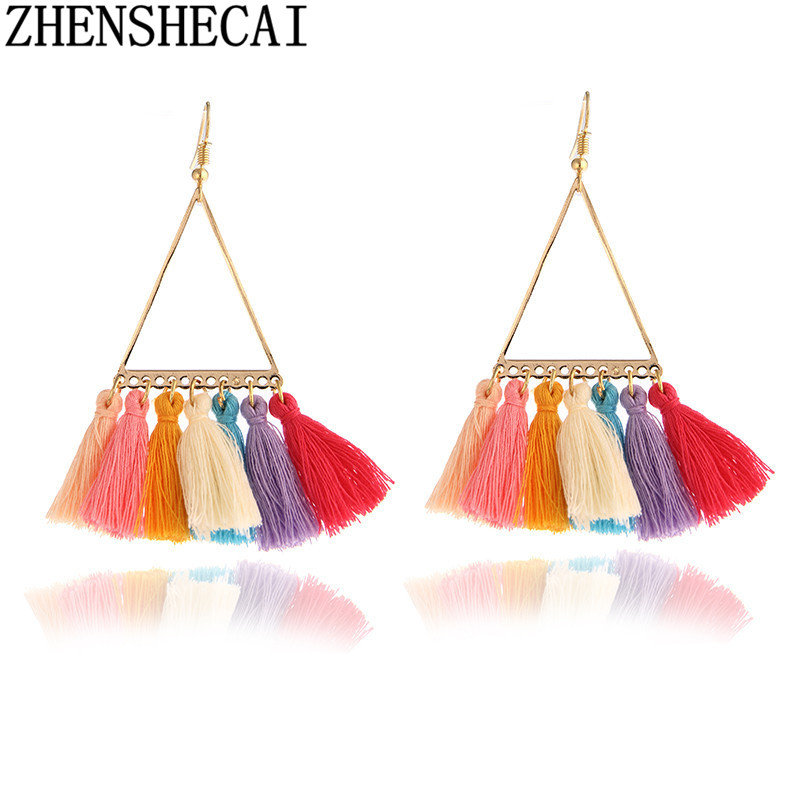 2017 New Statement Hangs Drop Earrings Hot Fashion Multicolor Wedding Tassel Earrings Women's Jewelry