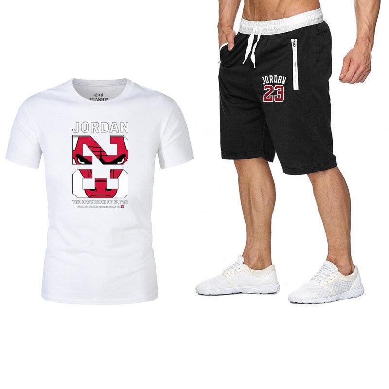 Summer Two Piece Set Jordan 23 Short Set Tracksuit Men Outfits Casual Streetwear Sport Suit Jogging Sweat Suits T-shirt Shorts