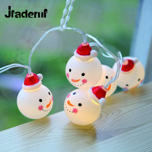 Jiaderui LED Snowman Fairy String Lights Home Garden White Lights Santa  Luces Decoration 3V AA Indoor Garland For Xmas