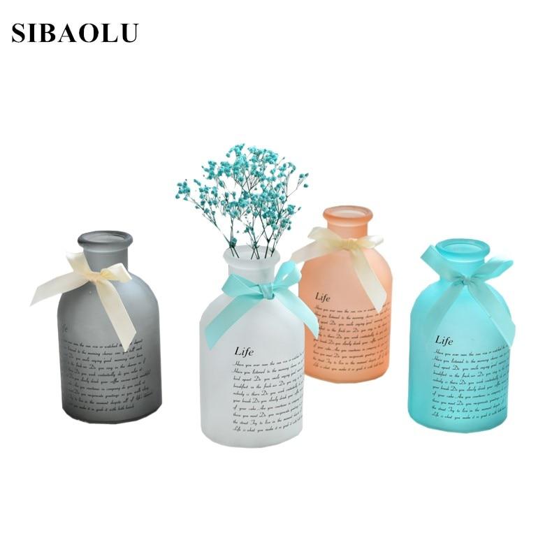Ins Мода ваза красочная настольная Стекло ваза для домашнего Свадебные украшения Nordic современный Стекло Искусственные цветы ваза подарок