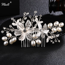 Miallo Crystal Flower and leaf Wedding Hair Comb Silver Hair Jewelry For Wedding Bride bridesmaid  HS-J4556