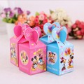 50pcs Wedding Favor Boxes Minnie/Mickey Candy Box For Kids Baby Shower Gift Box And Bags Children Birthday Event Party Supplies