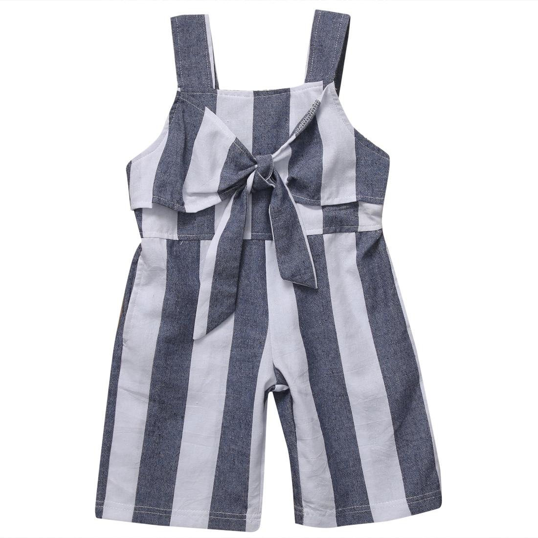 2018 новая детская одежда для девочек без рукавов содрали комбинезон Дети лук комбинезон, костюм летняя одежда наряды