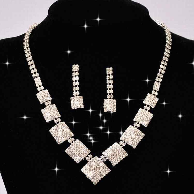 Luxury Square Rhinestone Crystal Choker Necklace Wedding Bridal Jewelry Sets For Bridesmaids Women Gifts