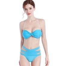 Пикантные Для женщин Плавание костюм комплект бикини пуш-ап Высокая Талия бразильские летние пляжные женские Плавание одежда ванный комплект купильник бикини