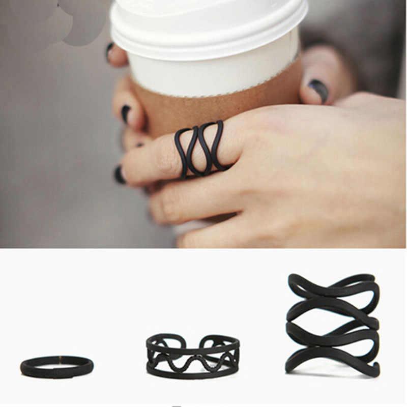 2017สีดำสไตล์พังก์ซ้อนสั้นลายนิ้วมือแหวนK Nuckle 3ชิ้น/ล็อตแหวนชุดสำหรับผู้หญิงเครื่องประดับ