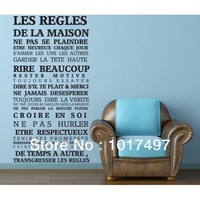 110x60cm FASHION France Home Rule Wall Decor Decals Home Stickers Art Vinyl Murals LES REGLES