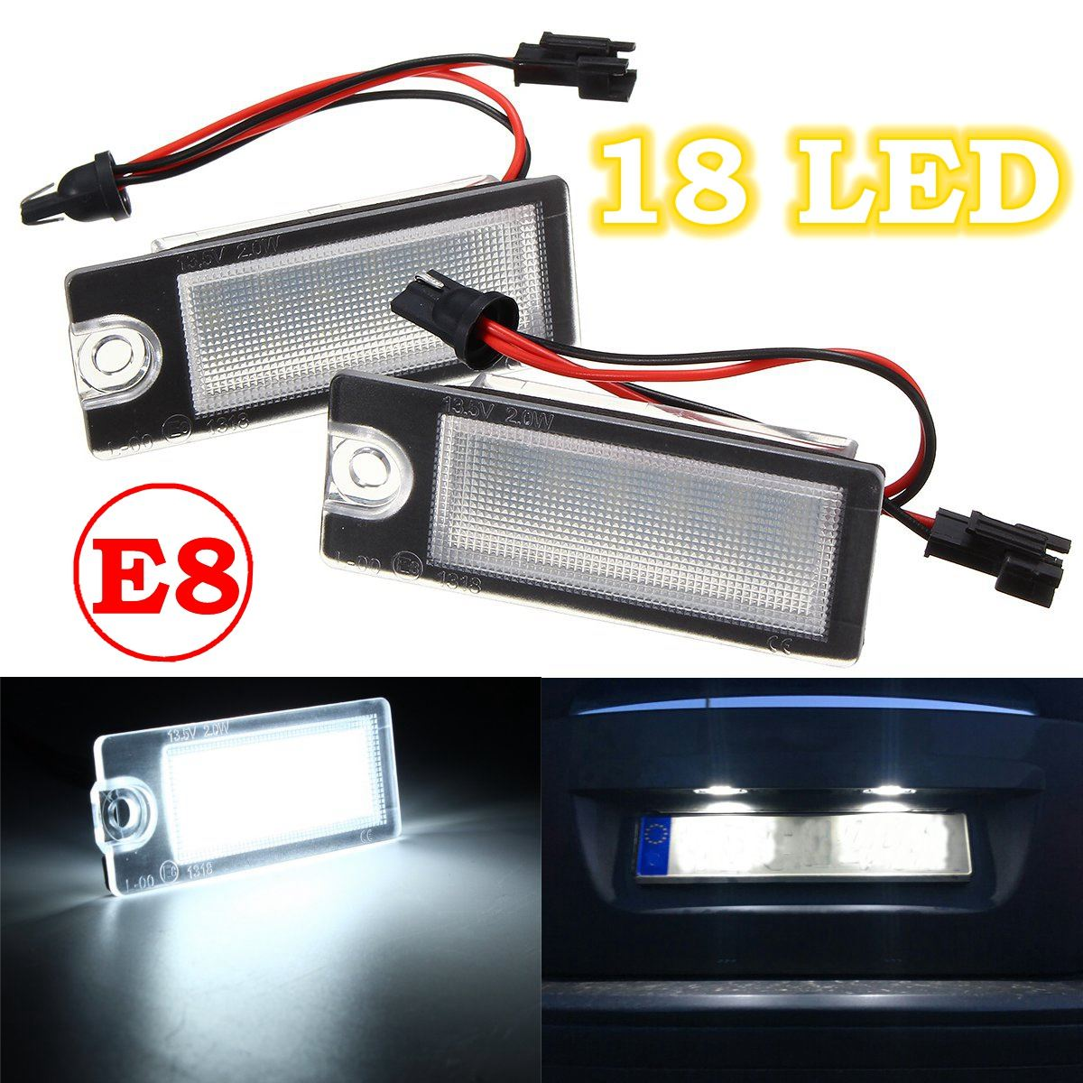 2Pcs Car 18 LED License Plate Light White Number Plate Lamp For Volvo S80 99-06 V70 XC70 S60 XC90 Accessories chic kitchen ceramic knife paring knife chefs knife set w knife holder green 4 pieces