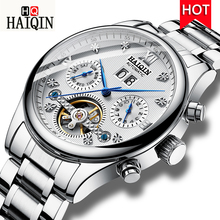 HAIQIN Brand Men Watch Waterproof Automatic Mechanical Watch Tourbillon Leather Clock Casual Business Wristwatch Relojes Hombre funique fashion business men watch leather mesh man dress quartz watch casual male relojes hombre feminino simple wristwatch