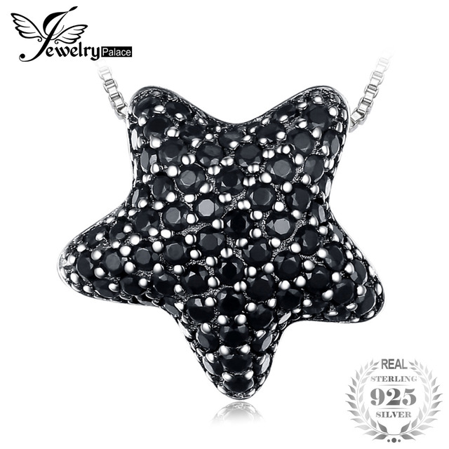 JewelryPalace Dazzling Star 0.6ct Natural Black Spinel Pave Pendants 100% 925 St