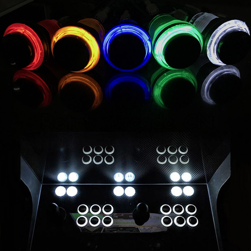 12pcs 5V/12V LED Light Round Illuminated 28mm Mounting Hole Push Button With Micro Switch For DIY Arcade Cabinet Game Machine