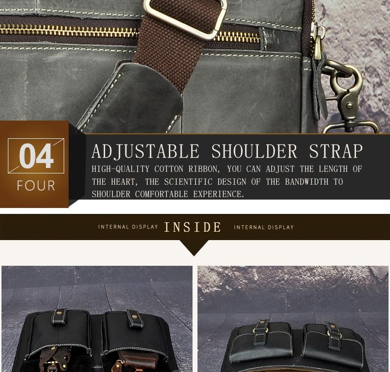 "HTB1NXehdv2H8KJjy0Fcq6yDlFXaM Le'aokuu Men Real Leather Antique Style Coffee Briefcase Business 13"" Laptop Cases Attache Messenger Bags Portfolio B207-d"
