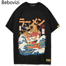 Bebovizi Brand Men 2018 Japanese Style Streetwear Waves Noodles Printed Short Sleeve T Shirts Hip Hop Loose Yellow Tshirts Tees