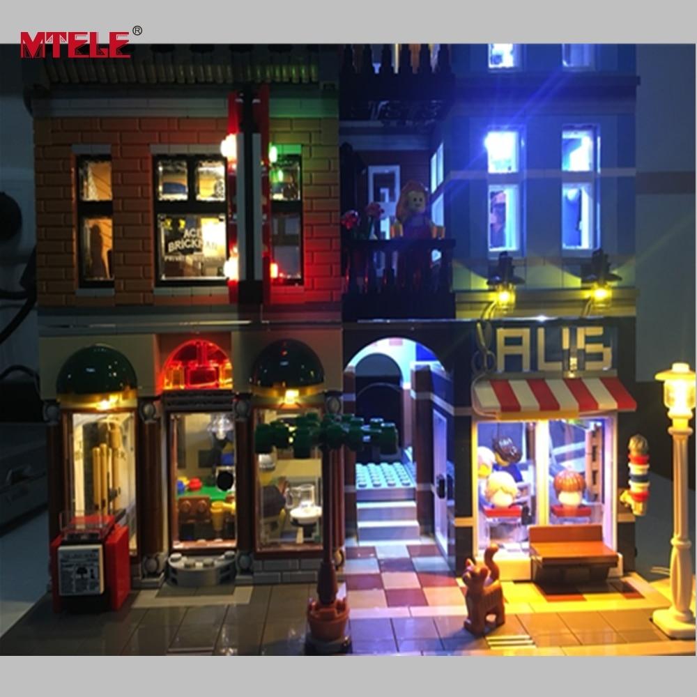 Mtele бренд со светодиодной подсветкой комплект для создатель город улица детектив офис модели совместимы с <font><b>Lego</b></font> 10246