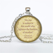 Charles Dickens Quotes Necklace Charles Dickens Quote Pendant Victorian England Jewelry Punk Round Pendant Choker Necklace HZ1