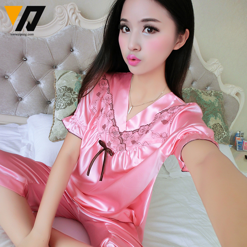 Aliexpress.com : Buy Silk Satin Sleepwear Womens Pajamas Shorts ...