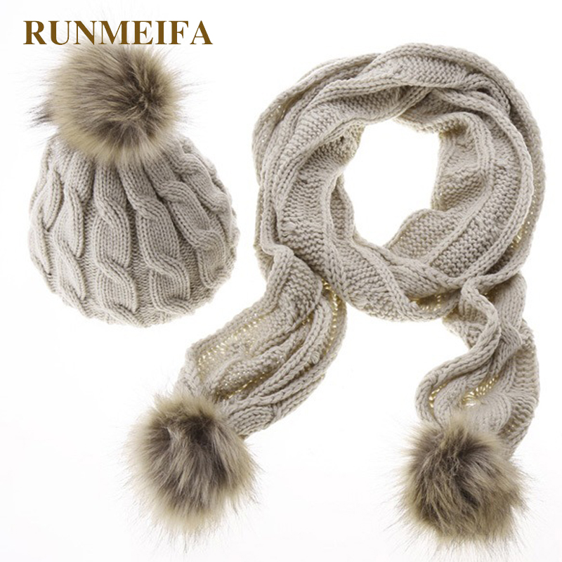 2108 New Classic Fashion Acrylic Warm Scarf Hat Set For Women Autumn And Winter Solid Scarf Hat Gift In Stock