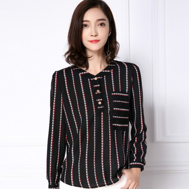 2016 New  Fall Fashion Women Blouses Casual Office Female Chiffon Shirts Long Sleeve V-neck Striped Shirt Plus Size Tops 81F 25