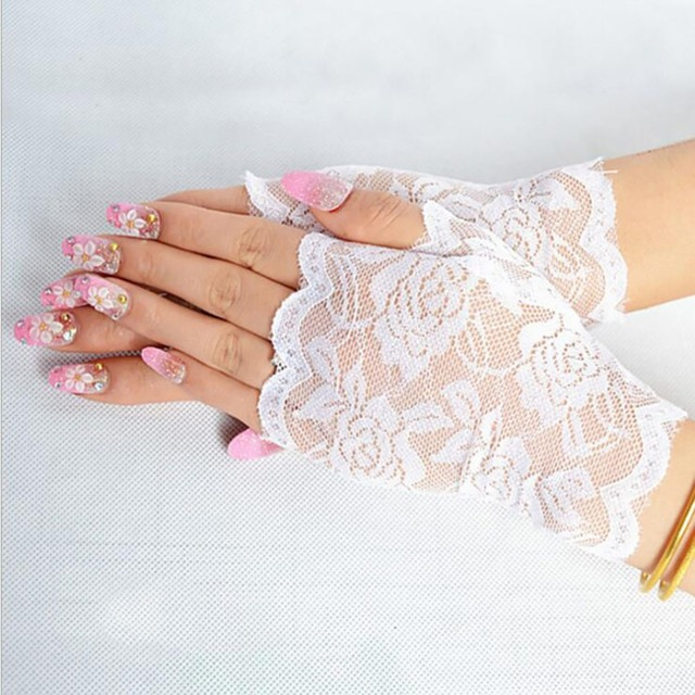 Best Sale Sailor Dance Long Fingerless Womens Sexy Lace Gloves Ladies Half Finger Fishnet Gloves Heated Mesh Mitten Handschoenen 3