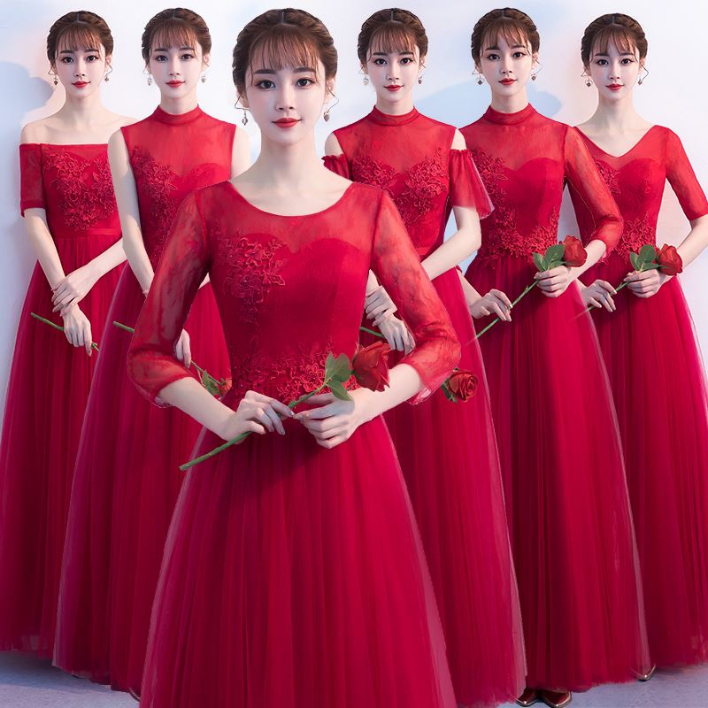 Beauty Emily Long A Line Lace Red Bridesmaid Dresses 2019 For Women Plus Size Wedding Party Prom Women Dresses Free Shipping