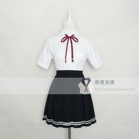 Japanese JK School Uniform Summer Doll Collar Sailor Short Sleeve Women Cosplay Anime School Uniform S XXXL Shirt+Skirt+Tie