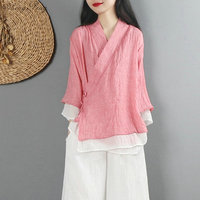 New linen shirt women top traditional Chinese style top blouses solid color linen shirt oriental clothing V1475