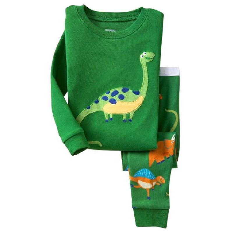 Hooyi Boy pajamas suit Long Sleeve Pajama Children pijama Kids Sleepwear clothes D nightgown 100% Cotton T-Shirt Pants Set 2