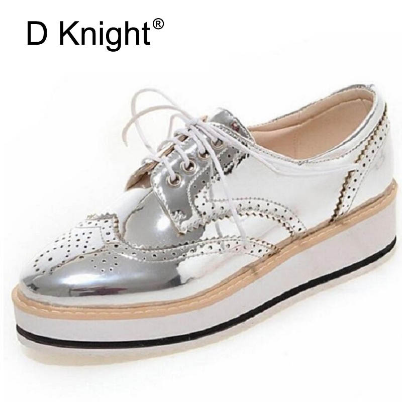 cfeef24614 Vintage Women Oxfords Lace Up Striped Platform Shoes Metallic Silver Black  Gold Brogues Women's Causal Heels