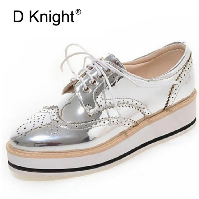 Vintage Women Oxfords Lace Up Striped Platform Shoes Metallic Silver Black  Gold Brogues Women s Causal Heels ea30e3a73b00