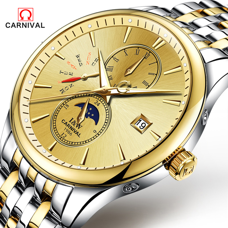 CARNAVAL 2018 Homens Relógios Top De Luxo Da Marca Esporte Relógio Mecânico Ouro Relógio Homens de Aço relógio de Pulso Automático Com a Fase Da Lua Cheia - 2