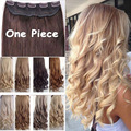 """New 17"""" 24"""" 27"""" 3/4 Full Head Hair Extensions Clips in Hair Extension Black Blonde Hairpiece Fashion Colors Long Curly Wave Hair"""