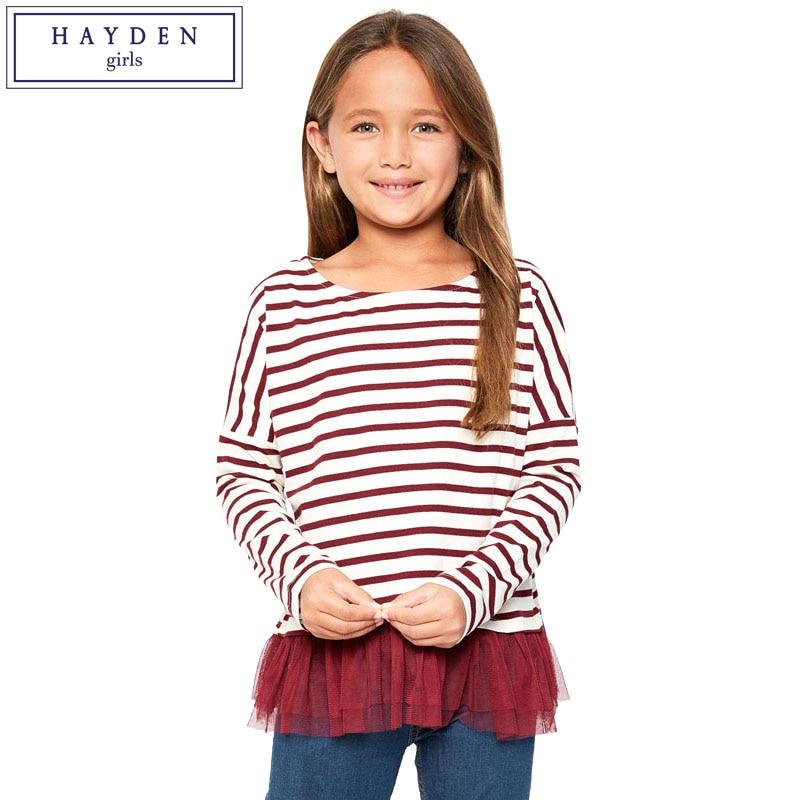 HAYDEN Girls Striped Tee Shirts Long Sleeve Top Kids Clothing Brand Designer Teenage Girl T ...