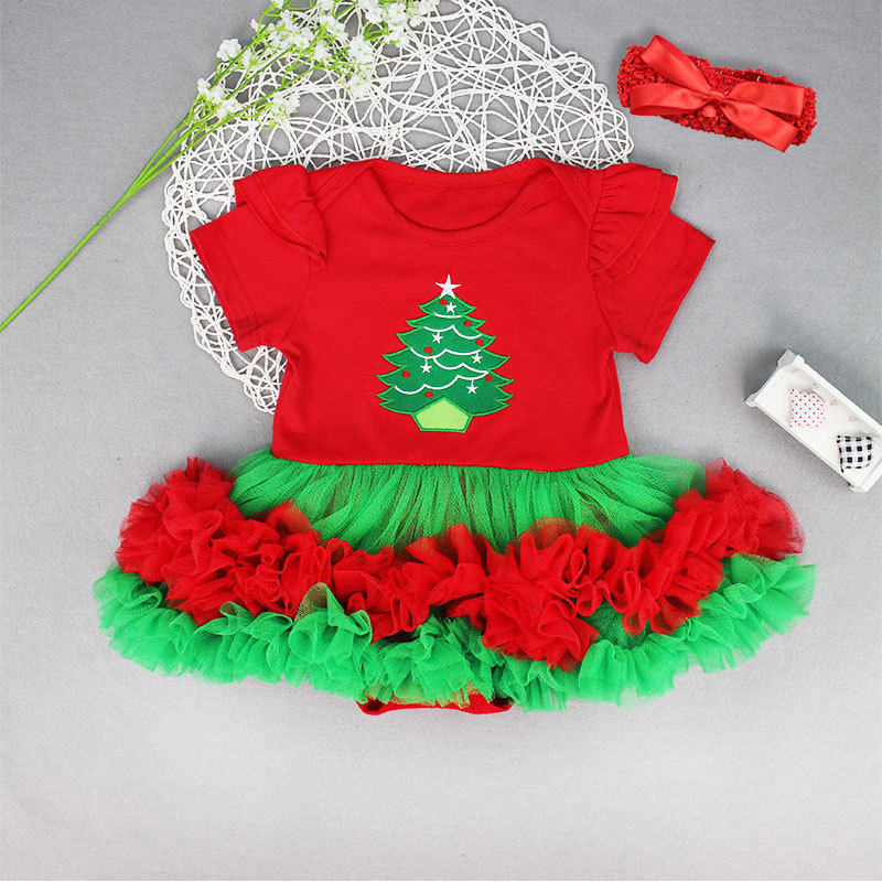 Christmas tree baby girls short sleeve jumpers fashion infant lace tutu skirt princess dance wear newborn soft clothes 17A801