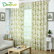 Summer Blackout Window Curtain Living Room Leaves Transparent Voile Sheer Burnout Tulle Curtains Fabric Screening